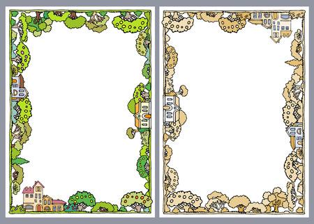 arboles caricatura: la composición del marco con árboles y casas en los árboles blancos de dibujos animados Fondo del verde y árboles trees.Apple shrubs.Fresh con frutas, dibujado garden.Hand árboles y arbustos incompletos verano
