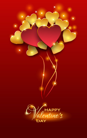 cut paper: Vector illustration.Valentines day abstract background with cut paper heart. Bright red Valentine`s day background.Red and gold balloons shaped heart,valentine background.Paper cut style Illustration