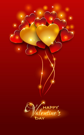 cut in paper: Vector illustration.Valentines day abstract background with cut paper heart. Bright red Valentine`s day background.Red and gold balloons shaped heart,valentine background.Paper cut style Illustration
