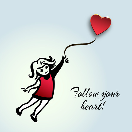 red dress: Inspirational quote about life and love.Follow your heart!Hand drawn sketchy girl flying with balloon shaped heart,romantic illustration.Paper cut style.Girl  in a red dress flying on heart balloons