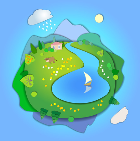 changing seasons: Flat Landscape Template Illustration with smooth vector shadows.Paper cut style.The effect of applications.Concept of life cycle in nature,scene in four different seasons of the year.Summer time