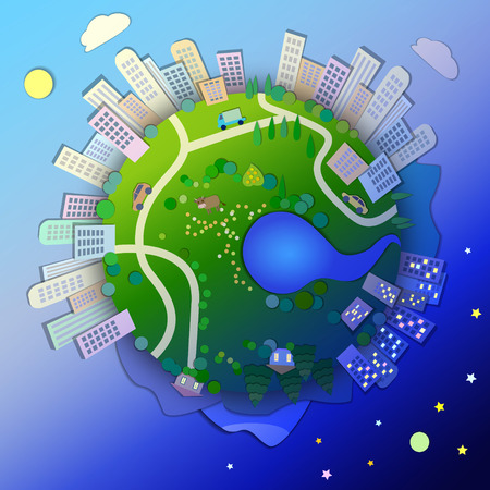 tranquil scene on urban scene: Concept of life cycle in nature,alternation of day and night.View of the planet,day and night time.Miniature globe.The concept of different time zones,international time illustration. Illustration