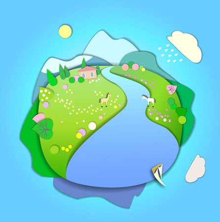 peaceful: The beginning of spring.Concept change of seasons.Globe concept showing a peaceful and idyllic lifestyle.Paper cut style.Flat Landscape Illustration with smooth vector shadows.Spring is coming