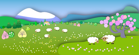 The beginning of spring.Concept change of seasons.Globe concept showing a peaceful and idyllic lifestyle.Paper cut style.Flat Landscape Illustration with smooth vector shadows.Spring is comin