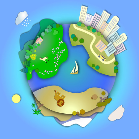 Miniature globe showing various landscapes like mountain,desert,city,woods,meadows,ranch.Travel around the world concept,planning vacation,tourism and journey.Various modes life styles in the world Illustration