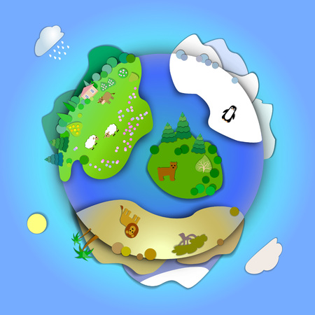 modes: Travel around the world concept,planning a vacation,tourism and journey.Concept miniature globe showing the various modes life styles and landscapes in the world.Flat Landscape illustration