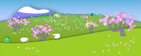 comin: The beginning of spring.Concept change of seasons.Globe concept showing a peaceful and idyllic lifestyle.Paper cut style.Flat Landscape Illustration with smooth vector shadows.Spring is comin