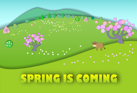 pastures: Spring is coming.The beginning of spring.Concept change of seasons.Paper cut style.Green spring meadow with blossoming tree, banner.Cow on pastures