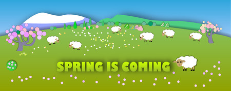 pastures: Spring is coming.The beginning of spring.Concept change of seasons.Paper cut style.Green spring meadow with blossoming tree, banner. Sheep on pastures Illustration