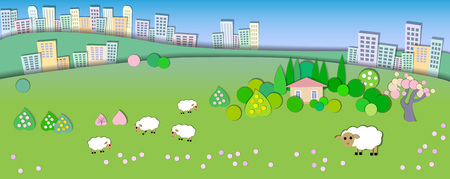 tranquil scene on urban scene: Spring is coming.The beginning of spring.Concept change of seasons.Globe concept showing a peaceful and idyllic lifestyle.Paper cut style.Big city in the distance.House in the village,sheep grazing