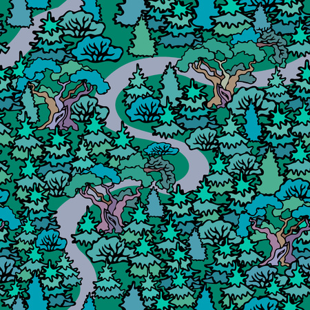 Hand drawn sketchy fir forest.Cartoon Oak and fir trees seamless pattern background.Fresh green trees.The road in the woods