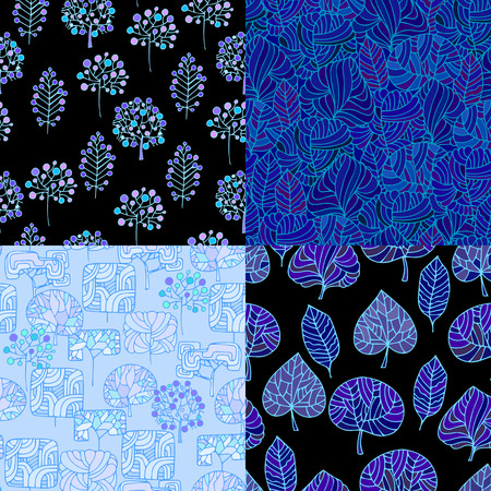 gift packs: Set of Hand Drawn seamless floral patterns.Stylized Decorative leaves and trees.Illustration for design of gift packs,wrap,patterns fabric,wallpaper,web sites.Nature backdrop,repeated background