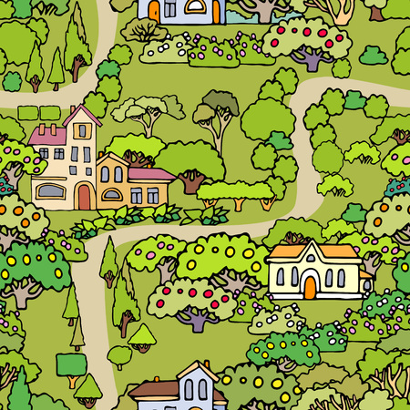 shrubs: Vector cartoon trees and shrubs seamless pattern background with houses.Can be used for wallpaper,textile design,cover,wrapping paper,banner,card.Hand drawn sketchy trees,bushes and houses