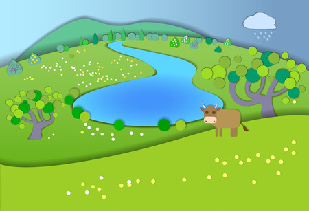 idyllic: Green meadows,garden,trees,before the rain.Weather changes.Concept showing idyllic lifestyle.Paper cut style.Flat Illustration with smooth shadows.Summer landscape with fields,cow in the pasture Illustration