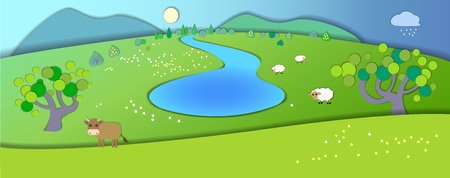 idyllic: Green meadows,garden,trees.Weather changes.Concept showing idyllic lifestyle.Paper cut style.Flat Illustration with smooth shadows.Summer landscape with fields,cow and sheeps