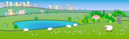Zmiana pór roku. Pojęcie pokazujące różne tryby życia style.Paper cut style.Flat Illustration with smooth shadows. Summer landscape with green fields, sheep in pasture, Lake house