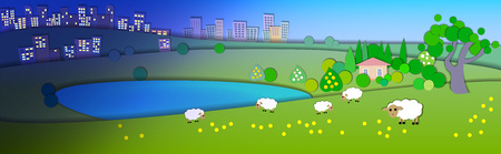 time zones: Change of seasons.Concept showing various modes life styles.Paper cut style.Flat Illustration with smooth shadow.Summer landscape with green fields,sheep in the pasture,Lake house.Different time zones Illustration