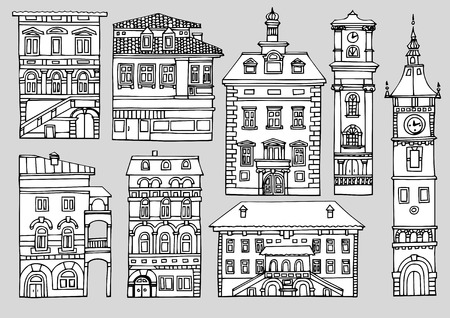 variegated: Set of different color and shape old houses. Facades of variegated buildings.Set of vintage facades.Sketch, hand drawn,cartoon style.Black and white line illustration, isolated on a white background Illustration