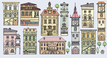 railings: Set of different color and shape old houses. Facades of variegated buildings.Set of vintage facades.Sketch, hand drawn,cartoon style