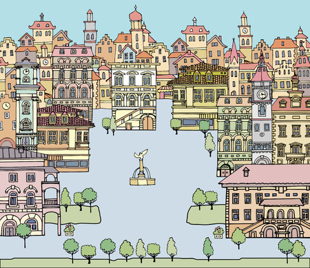 old houses: Set of different color and shape old houses. Facades of variegated buildings.Set of vintage facades.Sketch, hand drawn,cartoon style.Square with a fountain European city Illustration
