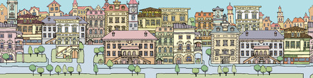 exterior architectural details: Set of different color and shape old houses. Facades of variegated buildings.Set of vintage facades.Sketch, hand drawn,cartoon style.Streets of European cities Illustration