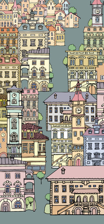 variegated: The narrow streets of European cities. Different color and shape old houses. Facades of variegated buildings.Set of vintage facades.Sketch, hand drawn,cartoon style