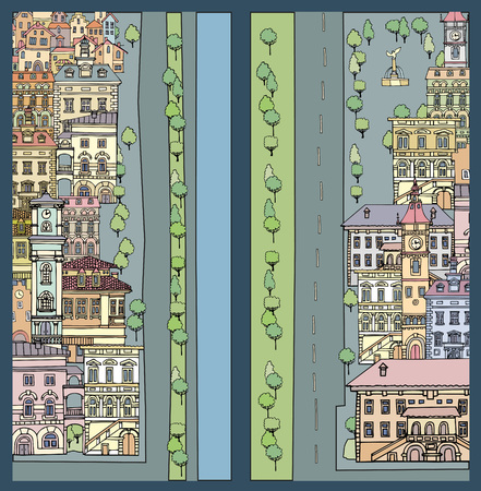 tile roof: Streets of European cities.Different color and shape old houses.Facades of variegated buildings.Vintage facades.City embankmentSketch,hand drawn,cartoon style Illustration