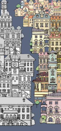 london night: The narrow street of European cities.Different shape old houses.Facades of variegated buildings. Vintage facades. Sketch,hand drawn,cartoon style.Black and white.The city is divided into two parts