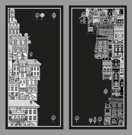 variegated: The narrow street of European cities.Different shape old houses.Facades of variegated buildings. Vintage facades. Sketch,hand drawn,cartoon style.Black and white.The city is divided into two parts