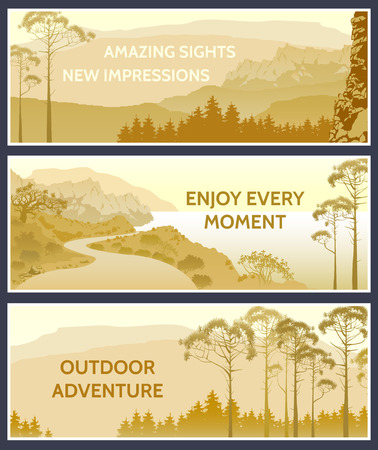 beach side: Outdoor thematic banner design with great wild landscapes.Brochure,flyer,booklet,card template for product promotion and advertising.Amazing sights,New impressions,Outdoor adventure,enjoy every moment Illustration