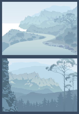 panoramic beach: View of blue mountains with forest.Asphalt road is meandering between sea and mountains.Mountain landscape. Silhouette of mountains and coniferous trees.Turning mountain highway