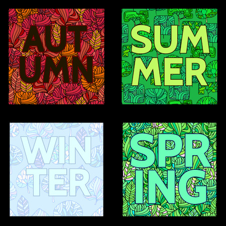 outumn: Floral summer,spring and outumn background with text.Inscription summer,spring and outumn and winer illustration with hand drawn plants.Word on Decorative trees seamless pattern Illustration
