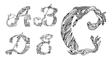alphabetic: Vector Hand Drawn sketch Fonts.The original English language alphabet.Set of ABCD uppercase letters isolated on white background.Handmade ethnic alphabetic set .Boho style.Black and white line drawing Illustration