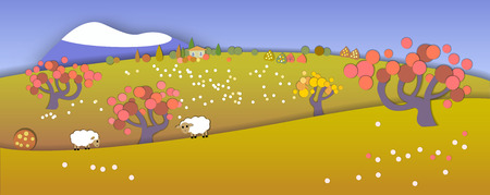 Concept change of seasons.Globe concept showing a peaceful and idyllic lifestyle.Paper cut style.Flat Landscape Illustration with smooth vector shadows.Autumn is coming