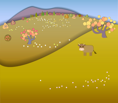 idyllic: Concept change of seasons.Globe concept showing a peaceful and idyllic lifestyle.Paper cut style.Flat Landscape Illustration with smooth vector shadows.Cow in the meadow.Autumn is coming