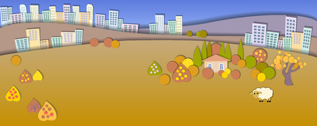 dry grass: Concept change of seasons.Lifestyle diversity concept.Paper cut style.Flat Landscape Illustration with smooth shadows.Big city in the distance.House in the village,sheep grazing Illustration