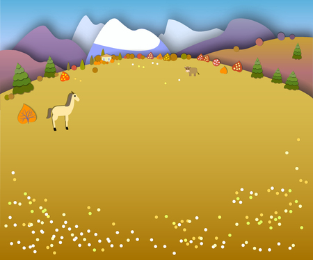 Concept change of seasons. Paper cut style.Flat Landscape Illustration with smooth vector shadows.Horse in the meadow.Autumn time, fields and high mountains, countryside Illustration