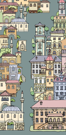 bell tower: The narrow street of European cities.Different shape old houses.Facades of variegated buildings.Vintage facades.Sketch,hand drawn,cartoon style.The city is divided into two parts.Europe and orient