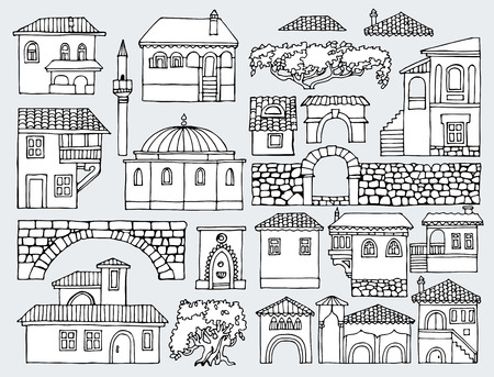 Black And White Line Drawing Cityscape Elements Vector Set Hand
