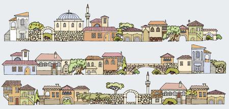 Façades Traditionnelles Du Moyen-Orient. Hand Drawn Sommaire ...