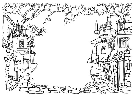 narrow street: Black and white Line drawing.Old street of oriental city.Hand drawn sketchy houses and trees.Middle East traditional architecture style.Religious buildings.Street paved with stone