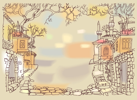 Old street of oriental city.Hand drawn sketchy houses and trees.Middle East traditional architecture style.Religious buildings.Street paved with stone