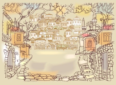 narrow street: Old street of oriental city.Hand drawn sketchy houses and trees.Middle East traditional architecture style.Religious buildings.Street paved with stone