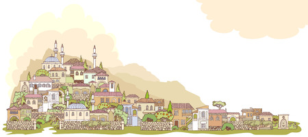 manmade: Middle East traditional facades. Hand drawn sketchy old oriental city. Small town is located on the hillside.The mosque with minarets.High Mountains