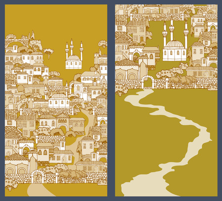 minarets: Street of the old city.Hand drawn sketchy houses and trees.Oriental architecture style.Middle East traditional facades.The mosque with minarets.
