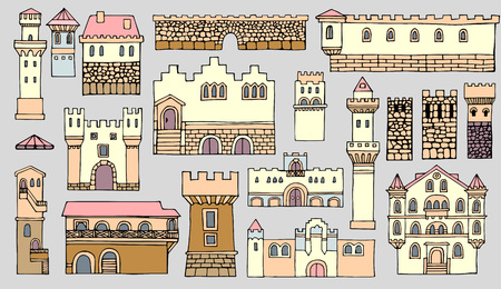 bell tower: Set of different color and shape Facades old  buildings,line drawing.Cityscape architectural elements vector set.Hand drawn isolated sketchy fortress.Doodle set of cartoon towers and castles Illustration