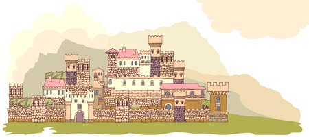 impregnable: Landscape with ancient medieval castle on the hill. Hand drawn sketchy fortress, cartoon towers and castles