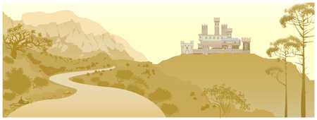 impregnable: Mountain landscape with ancient medieval castle on the hill. Hand drawn sketchy fortress, cartoon towers and castles Illustration