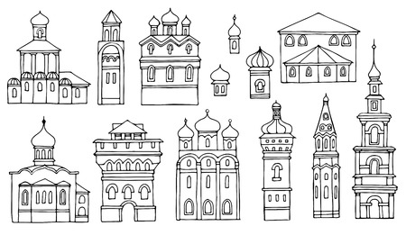 bell tower: Black and white line drawing,cityscape architectural elements vector set.Hand drawn isolated sketchy Facades old Orthodox churches. Illustration