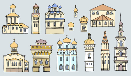 bell tower: Set of different color and shape Facades old Orthodox churches,line drawing.Cityscape architectural elements vector set.Hand drawn isolated sketchy temples.